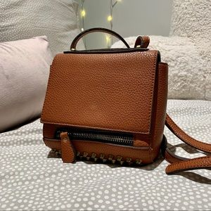Brown Faux Leather Studded Crossbody Bag